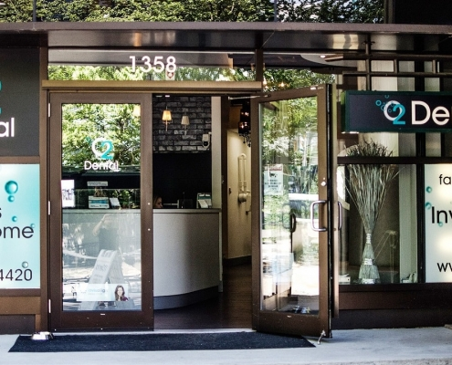 Front entrance of O2 Dental in downtown Vancouver.